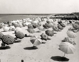 Cliffside Beach Umbrellas, 1950s, by Louis Davidson, Nantucket Historical Association