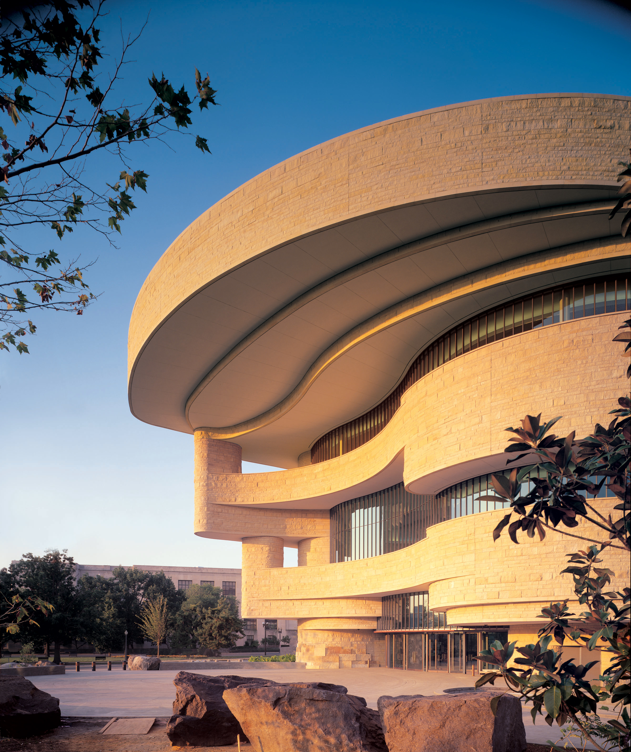 The east-facing main entrance of the National Museum of the American Indian at dawn. Judy Davis/Hoac