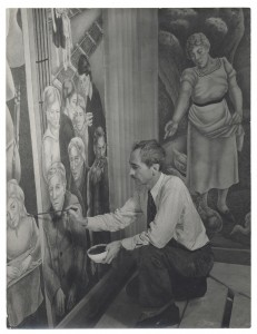 Biddle at work on Society Freed through Justice in the Justice Department Building, Washington, D.C.