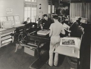 The WPA's Federal Art Project Print Department in Los Angeles, California, circa 1940. Fe