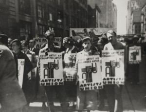 "Artists' Union Rally, ca. 1935. From left to right:  Edward ""Deyo"" Jacobs, Win"