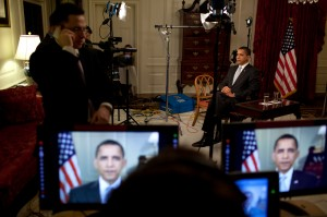 President Obama conducts interviews in the Map Room 3/30/09. Official White House Photo by Pete Souz