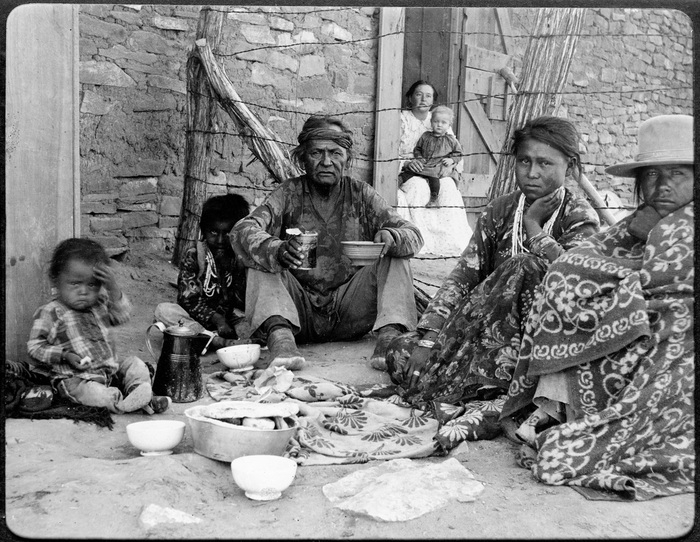 Old George and his family, 1899. Chaco Canyon, New Mexico. Photo by Sumner W. Matteson, Jr. Smithson
