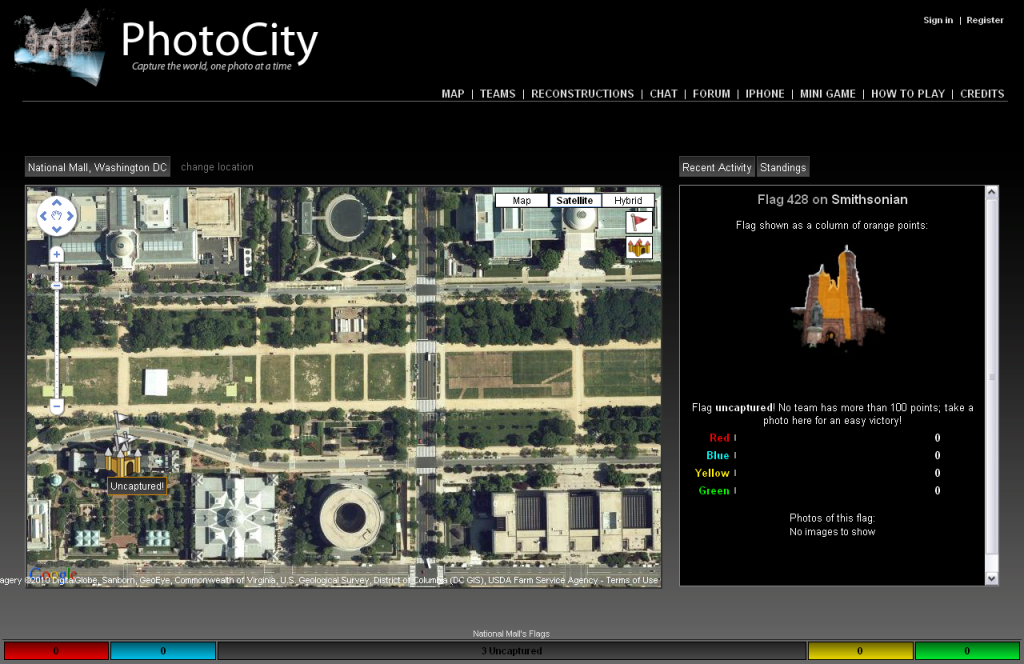 Screenshot of the PhotoCity game, with reqests for photos of the Smithsonian Castle visible.