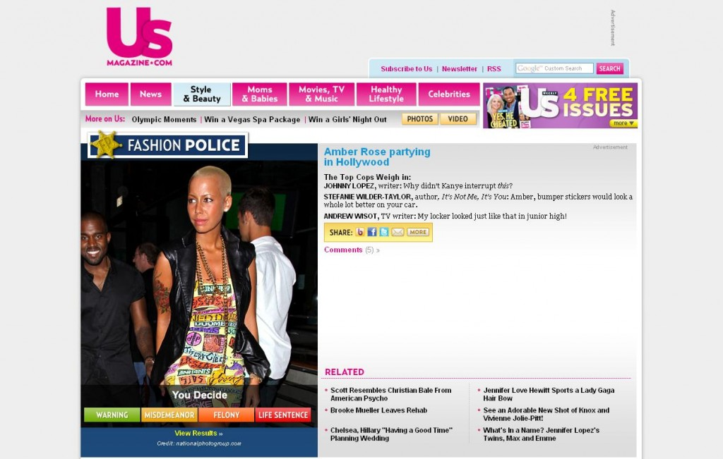 "Screenshot of US Weekly's ""Fashion Police"" feature on Amber Rose from 2009."