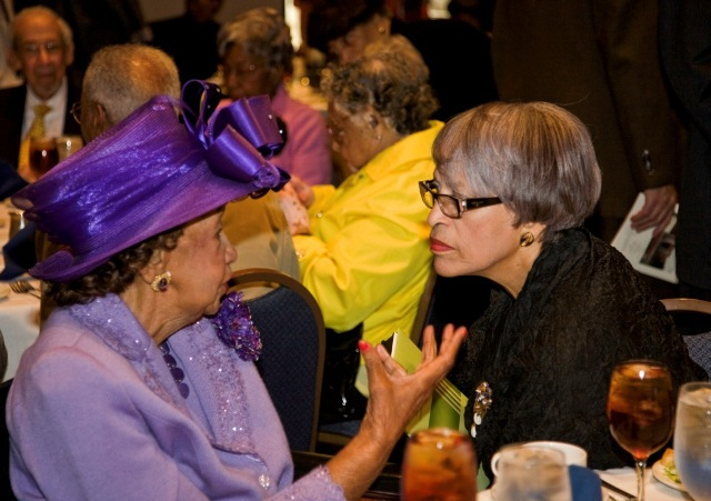 "Dorothy Height, chairman and president emerita, National Council of Negro Women and Johnnetta Cole, director, National Museum of African Art chat at the 42nd Anniversary ""Jubilee"" Luncheon of the Smithsonian's Anacostia Community Museum. Height was honorary chair and Cole was keynote speaker for the benefit event held at the National Press Club on Sept. 15, 2009, Photograph by Michael Barnes."