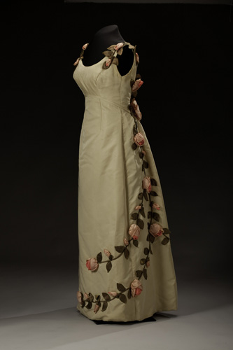 Anne Lowe American Beauty Dress, 1966-1967, Photo by Michael Barnes,  National Museum of African American History and Culture, Donated by Mrs. John F Dowd and Barbara Baldwin Dowd of Watkinsville, GA in 1987.