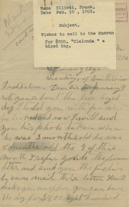 Letter from Frank Elliott to Smithsonian, February 18, 1902, Smithsonian Institution Archives, SIA20