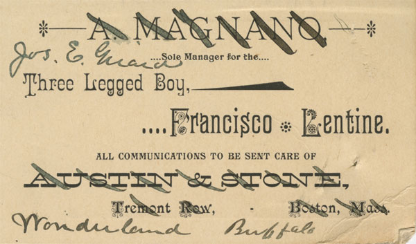 Verso of Francisco Lentini Card, Smithsonian Institution Archives, Record Unit 189, SIA2010-1409.