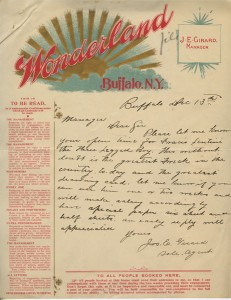 Letter from Joseph E. Girard of Wonderland museum to Smithsonian, December 13, 1898, Smithsonian Ins