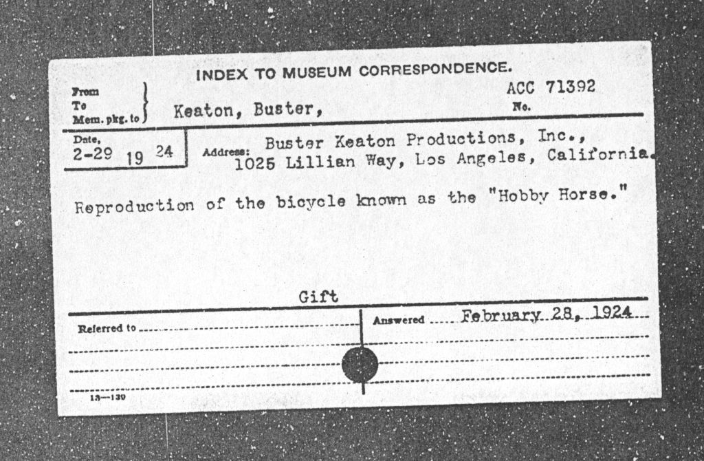 Donor card for Buster Keaton: Smithsonian Institution Archives, Record Unit 305, Accession Number: 7
