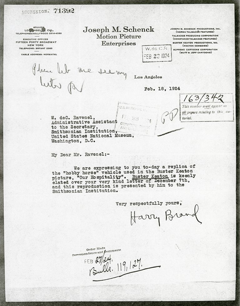 Letter from Schenck Motion Picture Enterprises Smithsonian Institution Archives, Record Unit 305, Ac