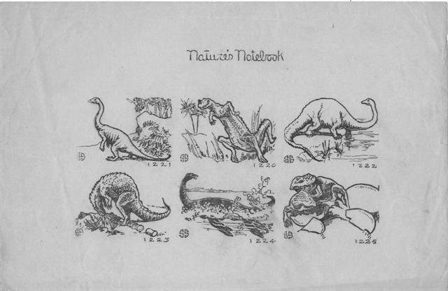 An illustration of dinosaurs by Elizabeth Sabin Goodwin, Courtesy of Linda.