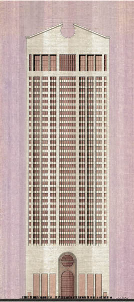 A rendering of the AT&T Building, now the SONY Building, in New York, recently purchased by the Vict