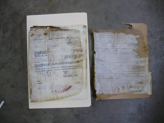An Example of Water Damage and Mold Found in Collections, 2008.