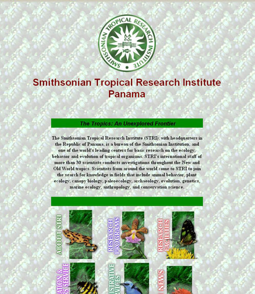 The Smithsonian Tropical Research Institute 1996  homepage, SIA Accession 05-032.