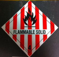 Sticker used for labeling flammable materials. Courtesy of Marguerite Roby.