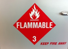 Safe containing flammable materials. Courtesy of Marguerite Roby.