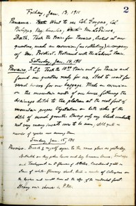 Entry from Eugene A. Schwarz's travel log, Schwarz was an American entomologist who worked with the