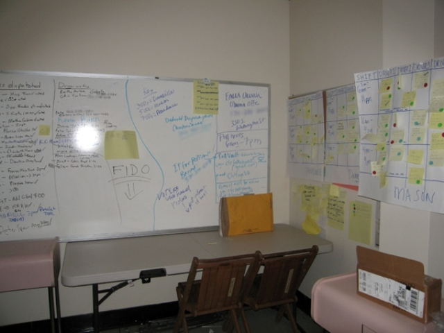 Whiteboard in its original location at the Obama Northern Virginia campaign office (NMAAHC TR2008-28