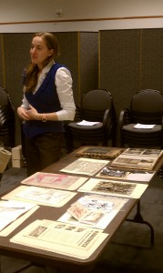 Smithsonian Institution Archives Fellow, Anna, dispenses advice at the Archives Fair.