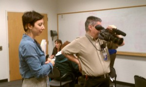 Effie Kapsalis of Smithsonian Institution Archives and video crew on hand to record interesting find