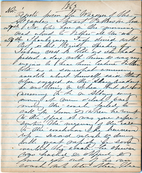 Diary Entry about Thanksgiving dinner, November 28, 1867, by Mary  Henry, Document, Smithsonian Inst