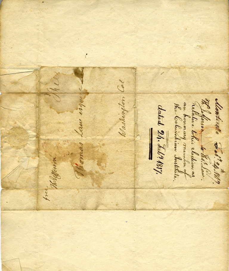 Letter from Thomas Jefferson to the Columbian Institute, 1817, Smithsonian Institution Archives, RU