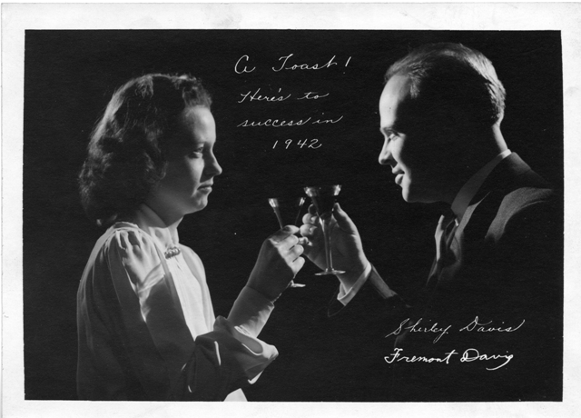 The 1942 holiday card of Shirley T. Davis (ca. 1918-1983) and Fremont Davis (1915-1977), the officia