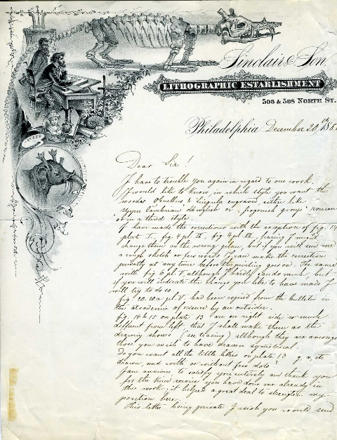 Letter from Sinclair & Son to Charles D. Walcott. Credit: Smithsonian Institution Archives, Record U