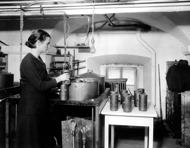 Florence E. Meier at work at the Radiation Biology Laboratory in the basement of the Smithsonian Cas