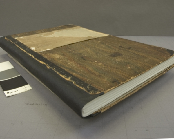 The manuscript cover after treatment, with a facsimile textblock insert, It was decided to keep the