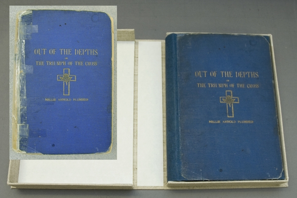 Out of The Depths, or, the Triumph of the Cross by Nellie Arnold Plummer. AHC 2003.0025.1, in its cu