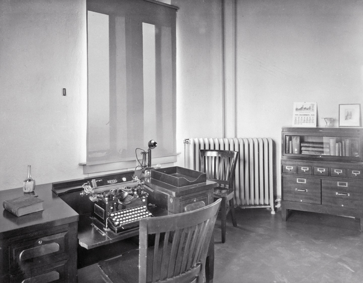 Radiation Biological Laboratory office in the tower of the Castle, December 1929, by unknown photogr