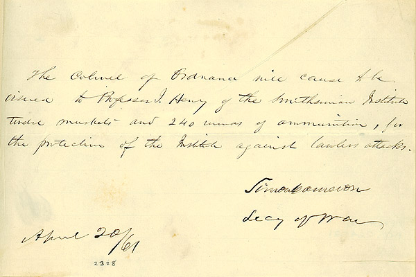 Simon Cameron, Secretary of War, Order Issuing Muskets to the Smithsonian (click to enlarge), April