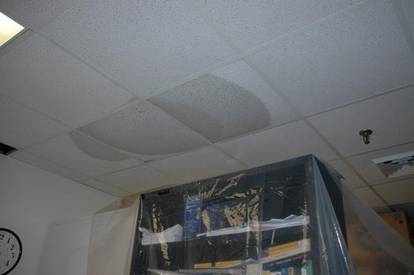 Not all disasters come from floodwaters; this one came from a sprinkler release on the floor above.