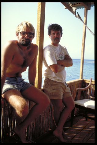 Photographer Carl C. Hansen (left) on location at Smithsonian Tropical Research Institute, 1988, by