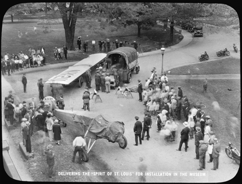"""Delivery of the """"Spirit of St. Louis"""" to the United States National Museum, now the Arts and Industr"""
