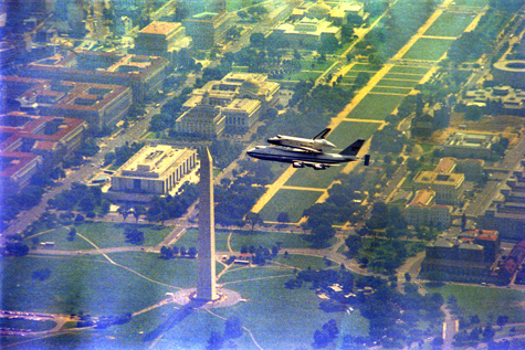 "The Space Shuttle ""Enterprise"" flies over the National Mall atop a NASA Boeing 747 Shuttle Carrier A"