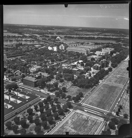 Aerial view of the National Mall and surrounding areas, July 14, 1954, by Unidentified photographer,