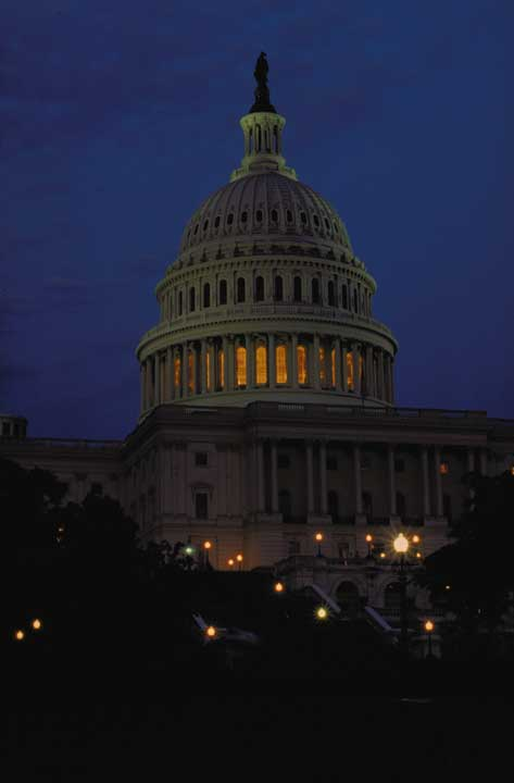 U.S. Capitol at night, 1994, by Unidentified photographer, Color slide, Smithsonian Institution Arch