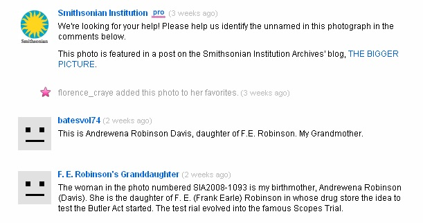 Comments from F. E. Robinson's relatives about the above photo on the Smithsonian Flickr Commons (cl
