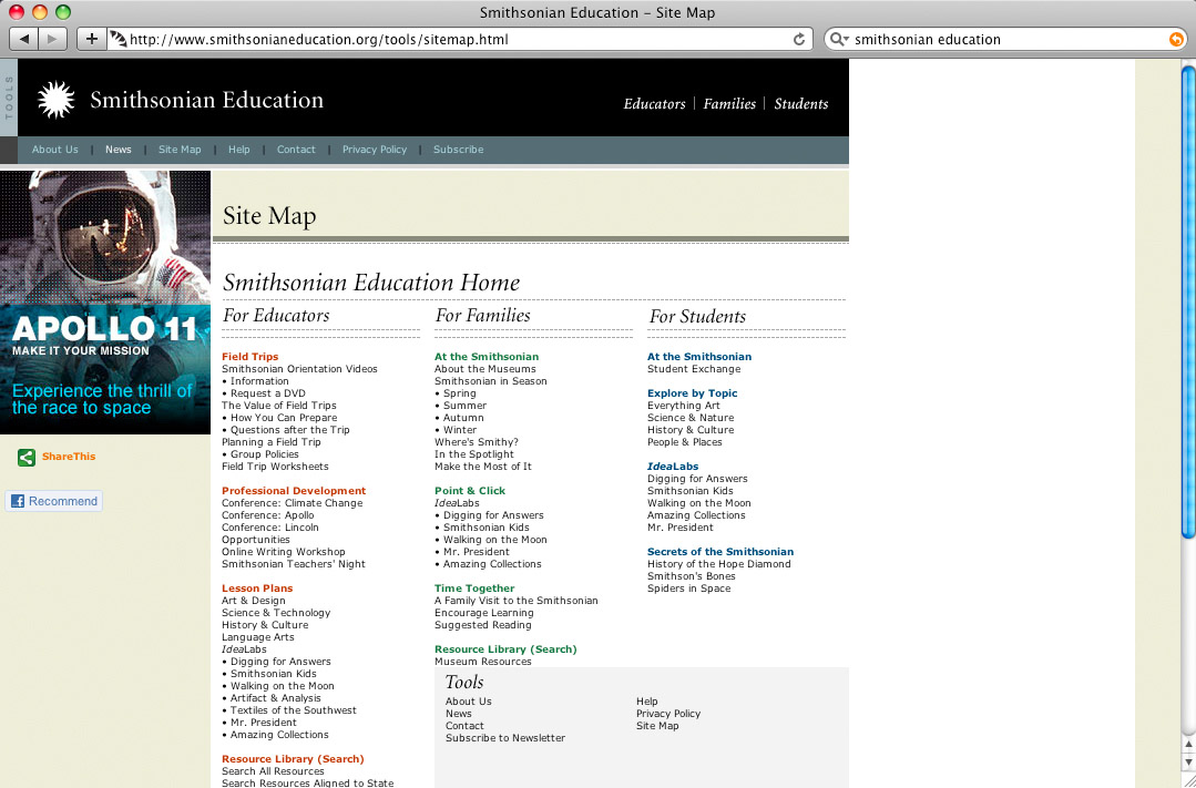 Great example of a sitemap: Smithsonian Education.